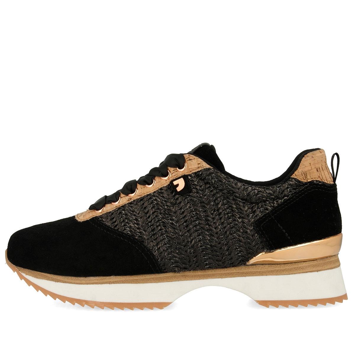 4f586ca1 Sneakers de mujer en negro con diferentes texturas para mujer 43308