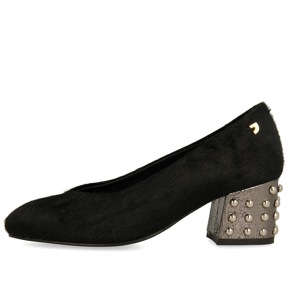 De Zapatos 46443 Negros Salón Para Mujer Tacón Dorado Medio Con drczRUr